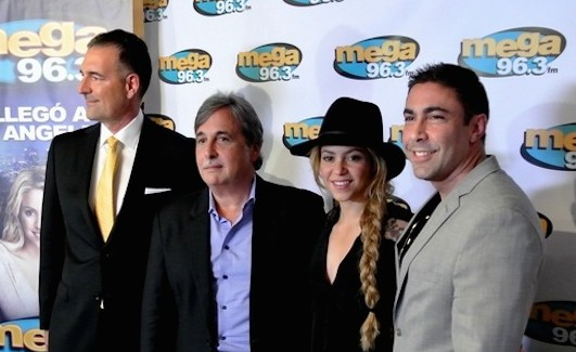 SBS VP West Coast Market Manager Bill Shadorf, president and CEO Raúl Alarcón, Shakira and EVP of Programming Jesús Salas during the L.A. press conference announcing the rebrand of SBS' Mega 93.9.