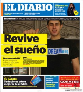 Front page of the redesigned El Diario, launched on June 4.