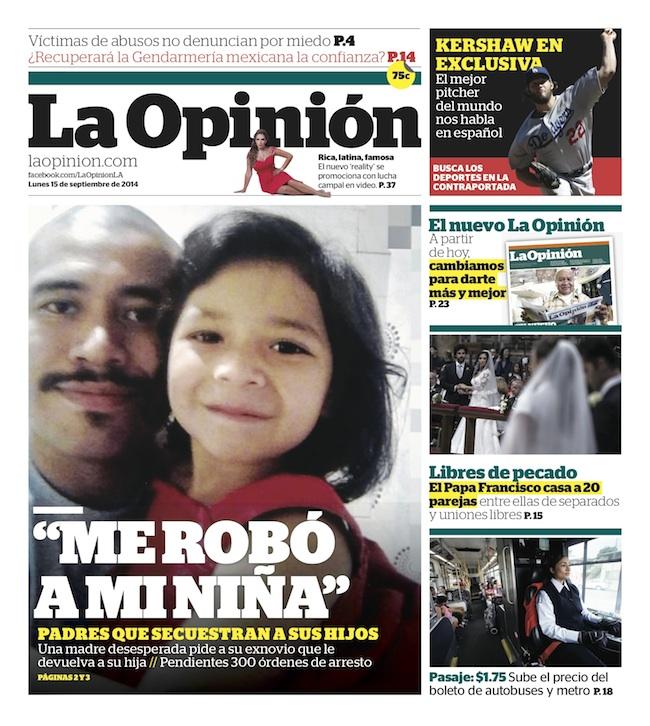 La Opinion new cover Sept. 15, 2014