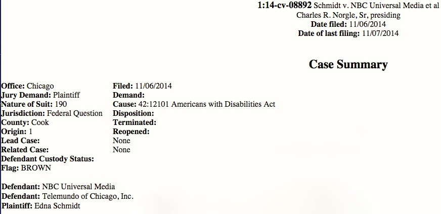 Edna Schmidt's lawsuit against Telemundo Chicago and NBC Universal was filed Thursday in federal court.