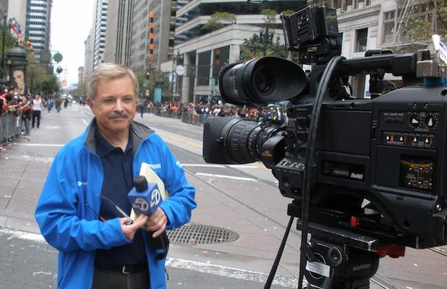 Don Sanchez, while covering the 2012 World Series. (Photo: Abe Mendoza)