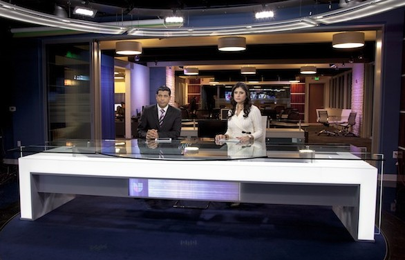 "Anchors are Juan Carlos Gutiérrez and Luisa Collins on the new ""Noticias Colorado"" set."