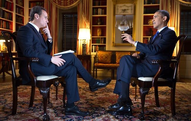 José Diaz Balart interviews President Obama on Jan. 30, 2013. (Official White House Photo by Lawrence Jackson)