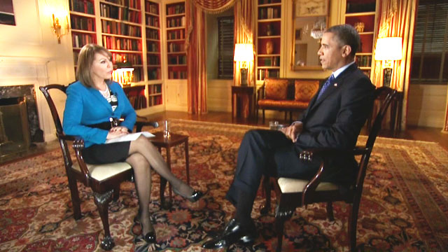María Elena Salinas interviews President Obama on Wed, Jan. 30, 2013.