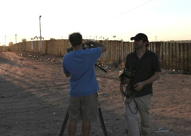 Director Bernardo Ruiz and cinematographer Claudio Rocha during a shoot in Mexicali.
