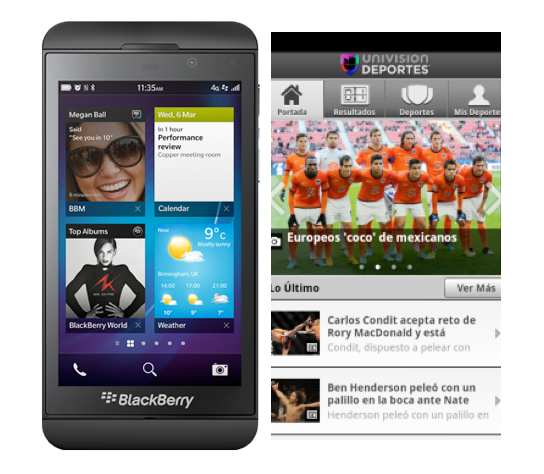 Univision apps on board BlackBerry 10 launch