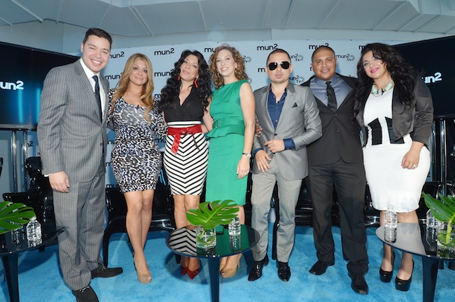 (L-R) Joe Bernard, Vicky Terrazas, Marisol Terrazas, Diana Mogollon, Larry Hernandez, Fernando Vargas, and Martha Vargas, during mun2's NY upfront. (Photo: Mike Coppola/mun2)