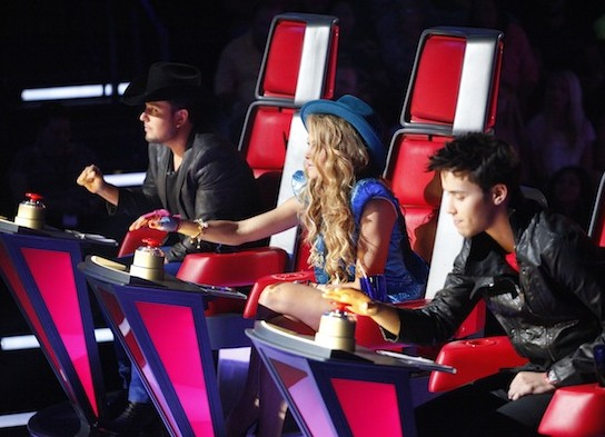 """Judges Roberto Tapia, Paulina Rubio and Prince Royce during the show's premiere of """"La Voz Kids."""""""