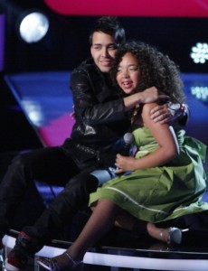 Prince Royce with 11 year-old contestant Paola Guache.