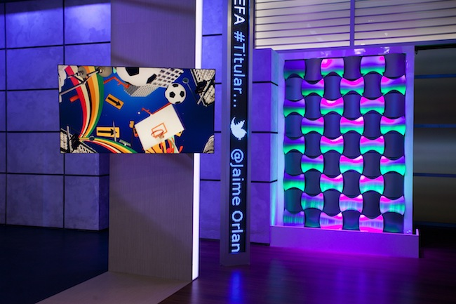 Part of the new Deportes Telemundo set.