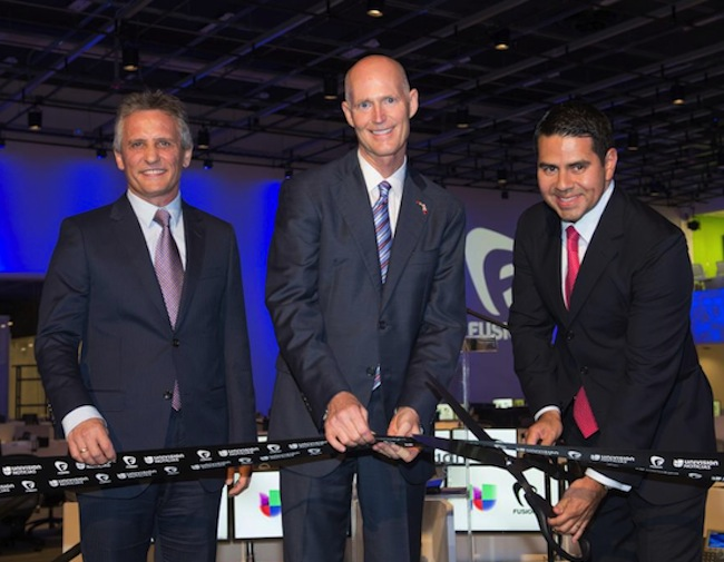 "Left to right: Luigi Boria, Mayor of Doral, Rick Scott, Governor of the State of Florida, César Conde, President of Univision Networks during the Aug. 28 ribbon-cutting ceremony celebrating the opening of ""Newsport."""