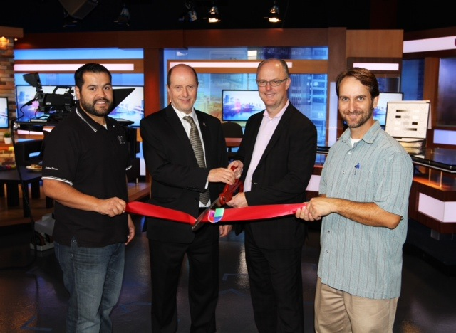 Ricardo Sigala (production manager), Pablo Iacub (news director), Steve Stuck (general manager), Bob Fitzhugh (chief of engineering) during the set's unveiling on Monday, Sept. 30.