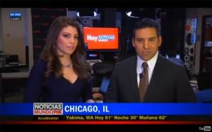 Nicole Suarez, anchor for Hoy Noticias MundoFox 13, co-hosted the national news from the Hoy newsroom in Chicago alongside Rolando Nichols, anchor for Noticias MundoFox Network.