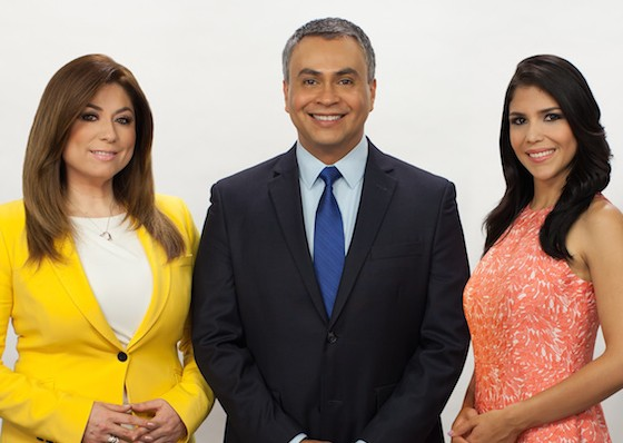 L to R: Blanca Garza, César Bayona, and Gabriella Dellán anchor KSTS-48's evening newscast.