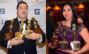 KEYT's Oscar Flores and Victoria Sánchez celebrate their big Golden Mike wins.
