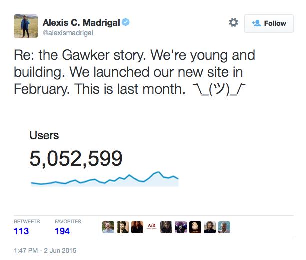 Madrigal tweet Fusion web traffic