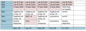 NBC Universo schedule