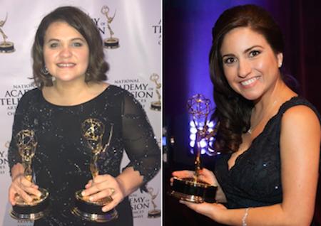 Reporters Alba Mendiola (L) and Iris Barrios won Telemundo Chicago's 2 Emmys.