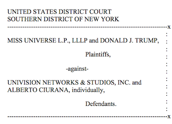 Univision - Trump motion to dismiss