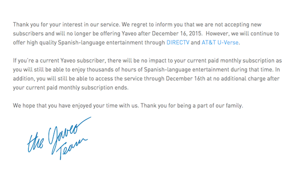 Yaveo message