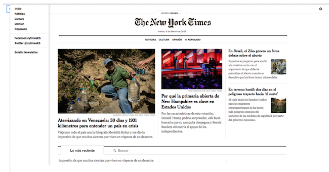 NYT Espanol site