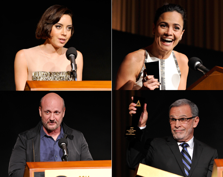 L to R clockwise: Aubrey Plaza, Alicia Braga, Tony Plana and Juan José Campanella receive awards during the NALIP closing ceremony.