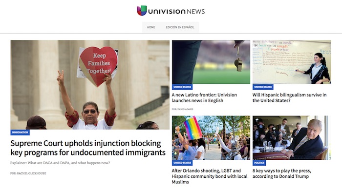 Univision News launch homepage