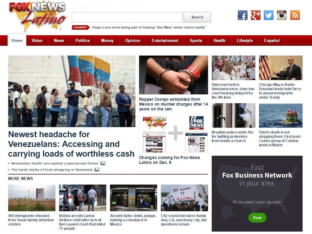 Fox News Latino final homepage Dec 7, 2016