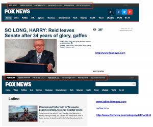 FoxNews.com vs FoxNewsLatino homepages Dec 8-2016