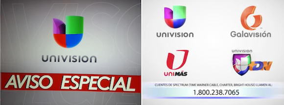Univision - Charter blackout messages