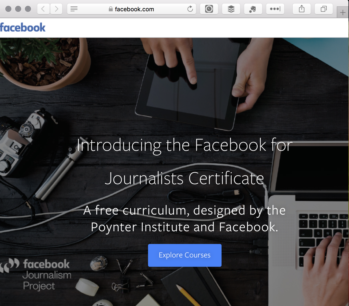 Facebook Journalism Course