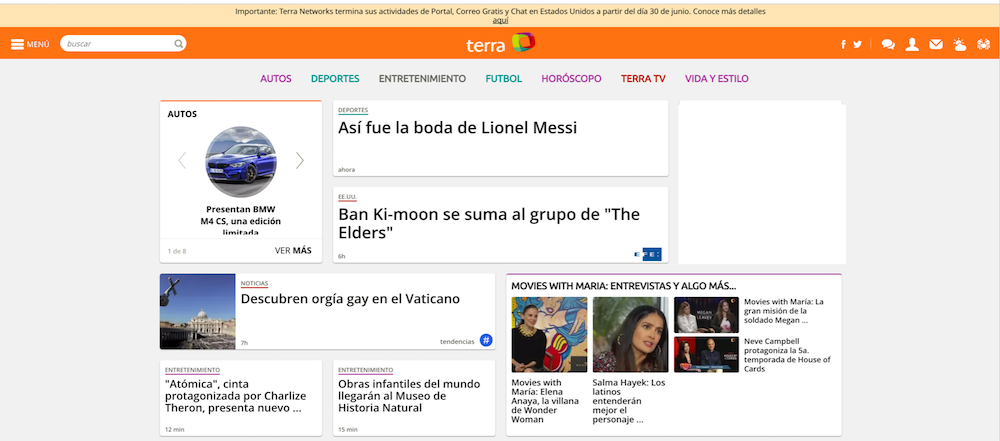 Terra final homepage