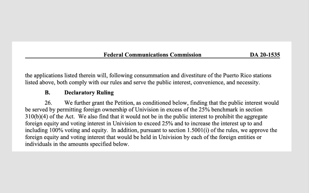 FCC Univision ruling excerpt